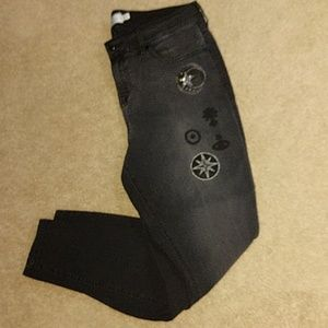 Torrid Denim Goth Patches Black Ultra Skinny Jeans